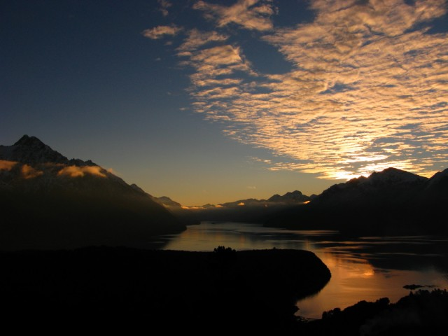 Winter sunset on Lake Nahuel Huapi